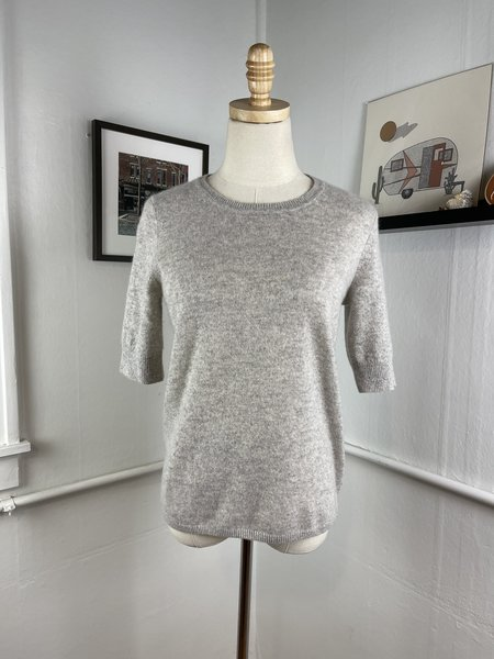 White + Warren Cashmere Short Sleeve Sweater -Grey
