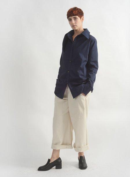 Meg Wrap Collar Shirt - NAVY
