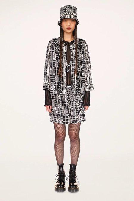 Rose Trellis Tweed Jacket - Black