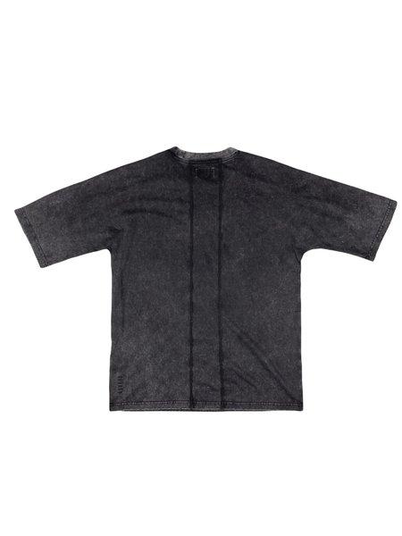 machus WASHED PANELED TEE - BLACK
