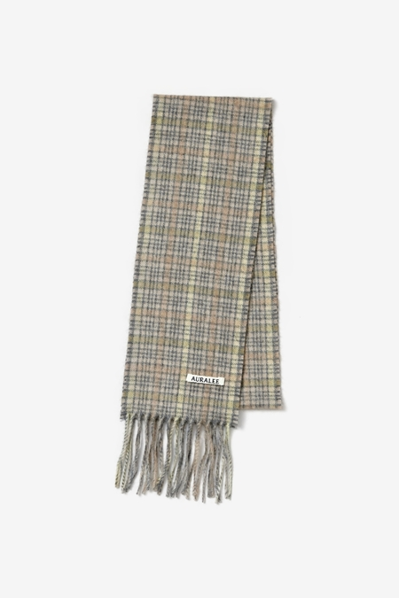 Auralee Cashmere Narrow Stole scarf - Lime Yellow Check