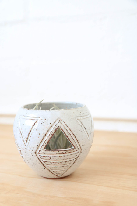 A Question Of Eagles Tabletop Carved Orb in White