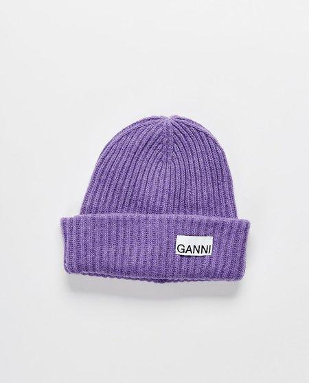 Ganni Recycled Wool Beanie - purple