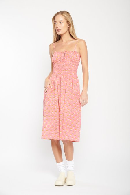ciao lucia Gabriela Block Printed Cotton Dress - Jardin
