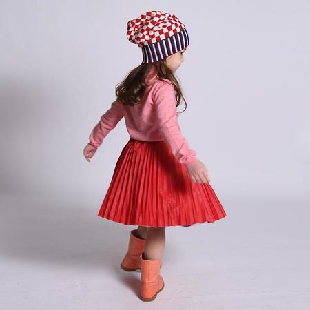 Kids  Tia Cibani Child Crush Pleated Twirl Skirt - Red