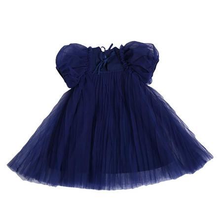 Kids Tia Cibani Pleated Empress Dress - Licorice Blue