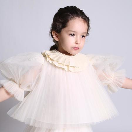 Kids Tia Cibani Kids Ruth Pleated Collar Opal - Cream