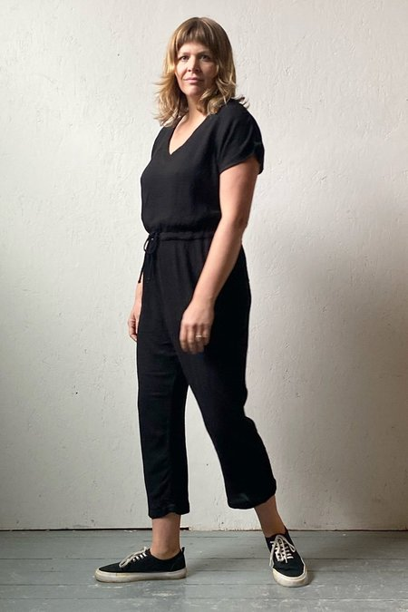 North Of West Recycled Linen Waffle Deep V Jumpsuit - Black