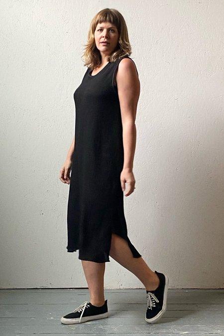 Recycled Pleated Crinkle Scoop Dress - Black
