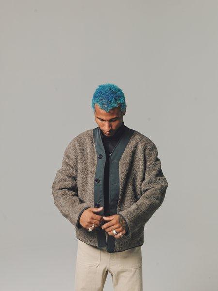 Urchin Gray Reversible Alpaca Wool Fleece V-Neck Liner-Blue