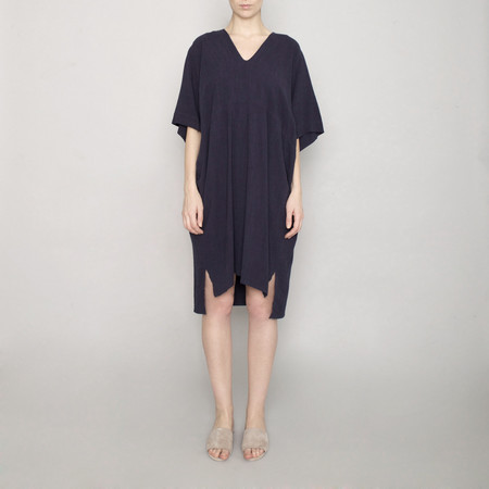 7115 by Szeki V-Neck Dolman Dress - Navy