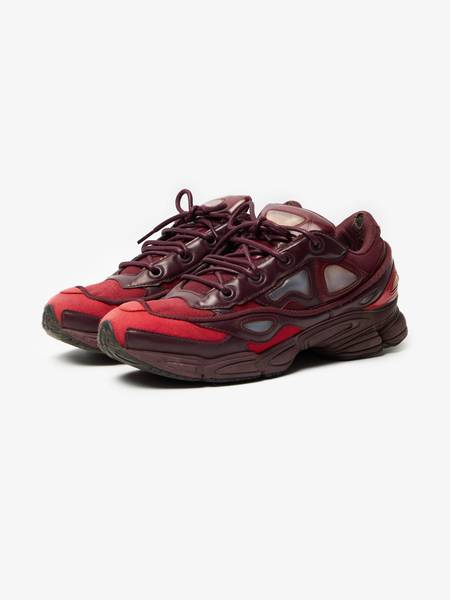 [Pre - Loved] Adidas X Raf Simons M Red And Burgundy Ozweego 3 Sneakers