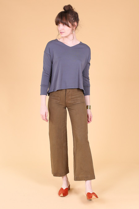 Evam Eva Cotton Silk V Neck Pullover in Dove Gray