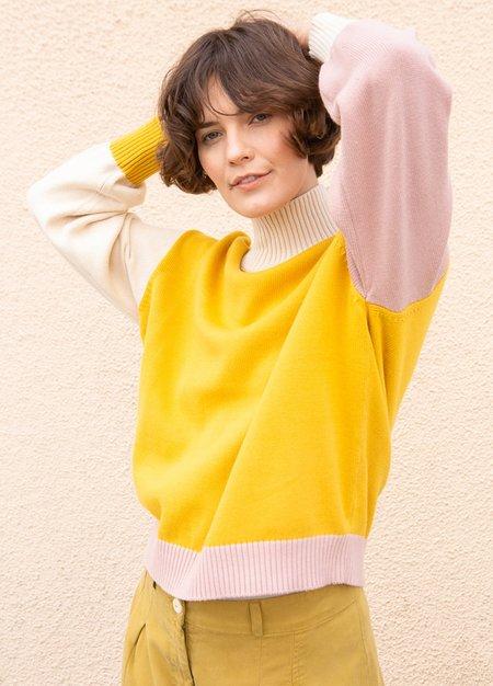Back Beat Colorblock Sweater-YELLOW