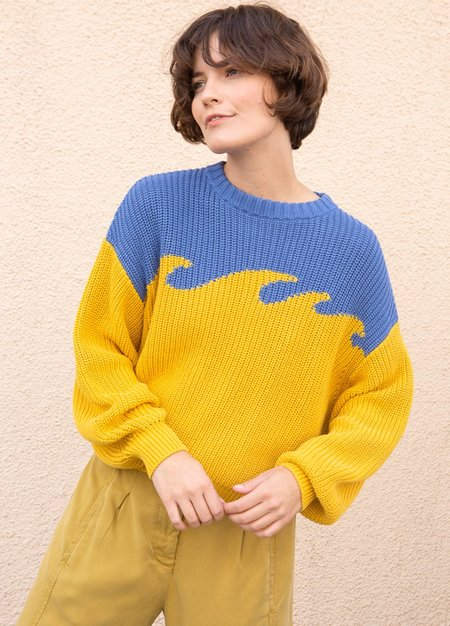 Back Beat Wave Sweater-Yellow