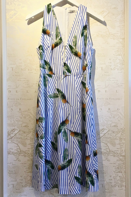 Cacharel Pineapple Stripe Print Cotton Dress
