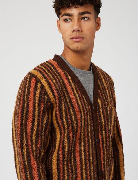 Beams Plus Stripe Fleece Cardigan - Brown