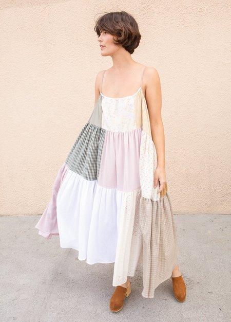 La Reunion  Patchwork Dress -NEUTRAL
