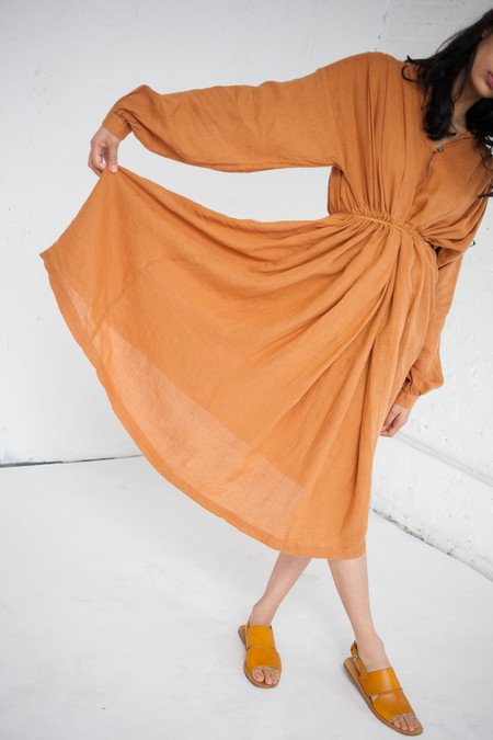 Black Crane Poet Dress in Rust