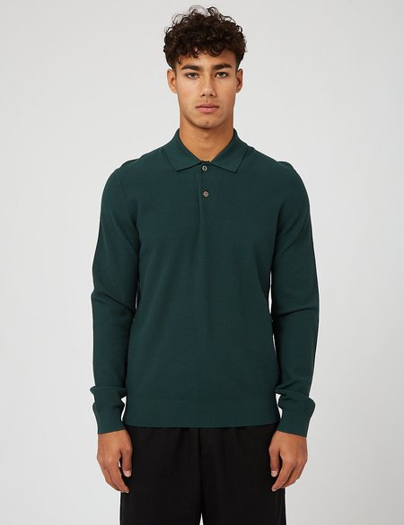 A.P.C. Kyle Knitted Long Sleeve Polo Shirt - Dark Green