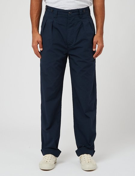 Nigel Cabourn Pleated Chino Ripstop trouser - Navy Blue