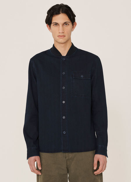 YMC Delinquents Herringbone Twill Shirt - Indigo