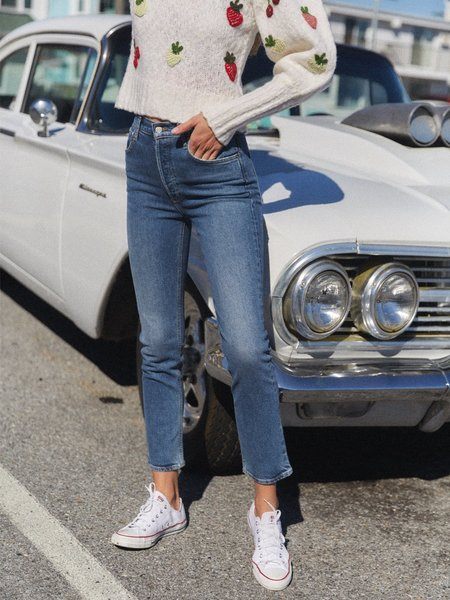 AGOLDE Riley High Rise Straight Crop Jeans   - Transfer