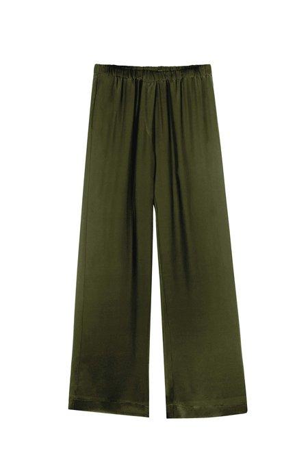 KES Minimal Wide Leg Silk Pant - Military