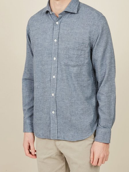 Hartford Paul Pin Point Flannel Shirt - Denim