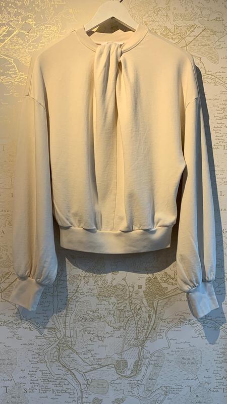 Twist Neck Sweatshirt-CREAM