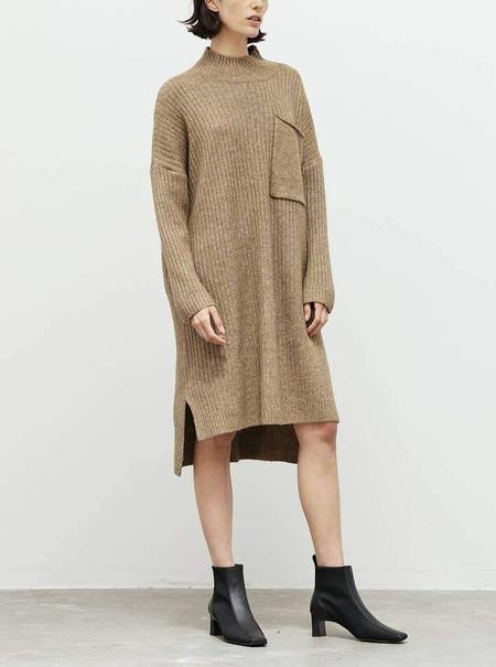 Grade & Gather Marled Ribbed Sweater Dress - Taupe