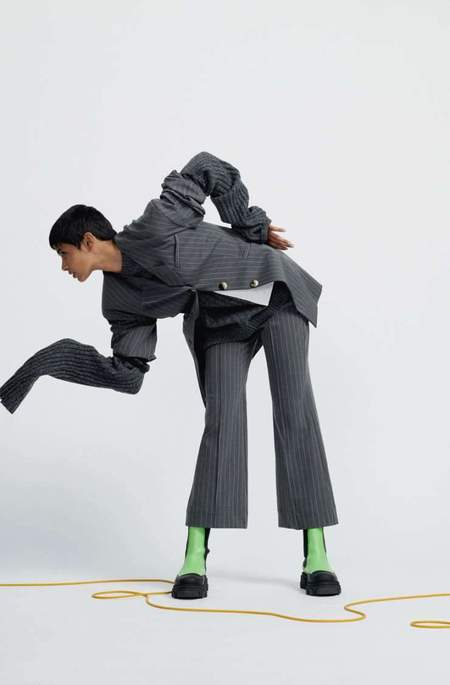 Ganni Stretch Stripe Cropped Pants - Phantom