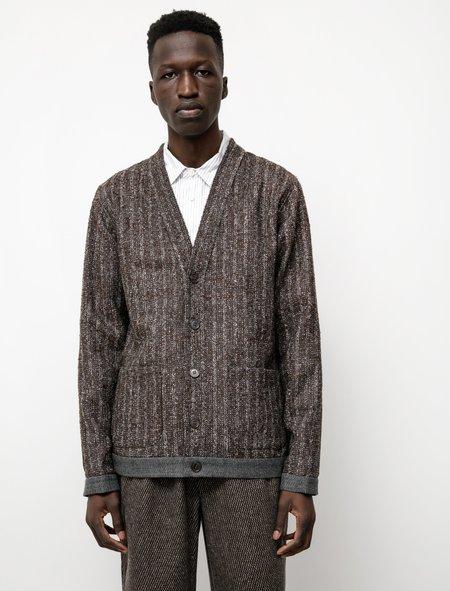Frank Leder Mixed Fabric Cardigan - Navy Texture