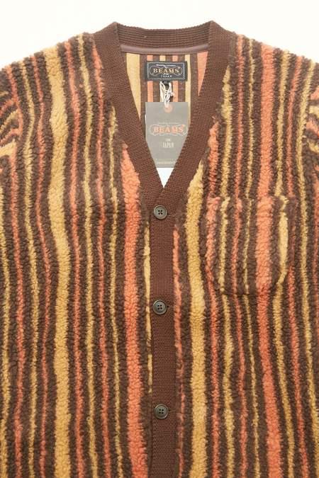 Beams Plus Fleece Cardigan Stripe   - BROWN