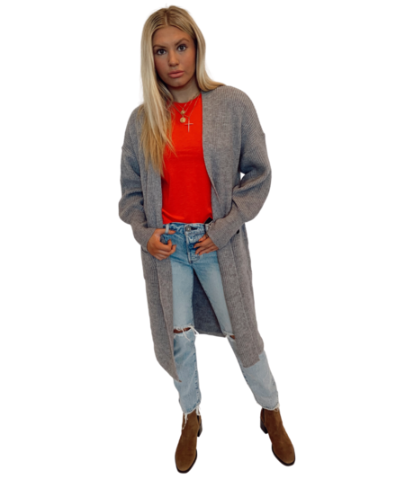 Lola Zoe Open Knit Puff Sleeve Cardigan - Heather Grey