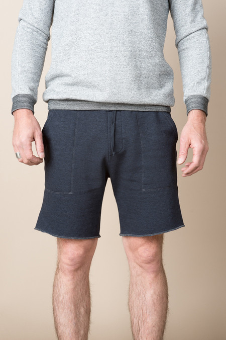 Save Khaki Overdyed French Terry Sweatshort In Charcoal Marine