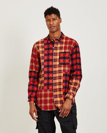 Engineered Garments Combo Short Collar Shirt - Red Plaid