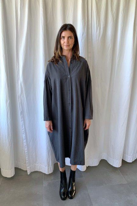 Black Crane Long Shirt Dress - Dark Grey