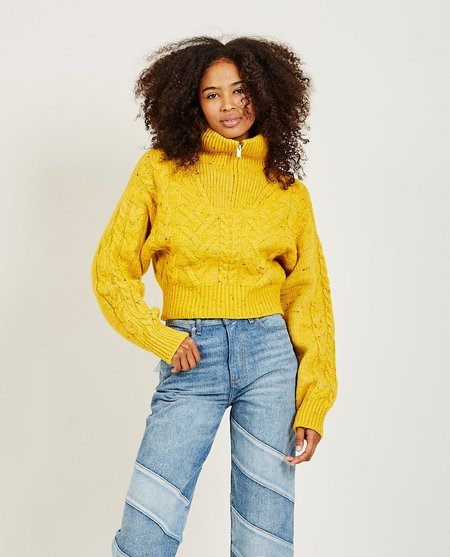 Ganni Cable Knit Sweater - Yellow