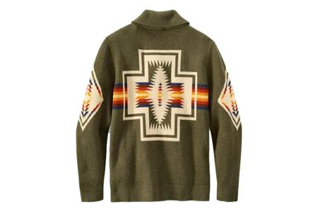 Pendleton Cotton Jacquard Shawl Sweater - Green Harding