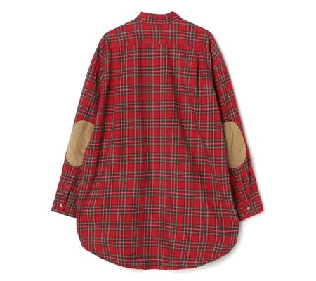 Orslow Loose Fit Stand Collar Shirt - Red Check