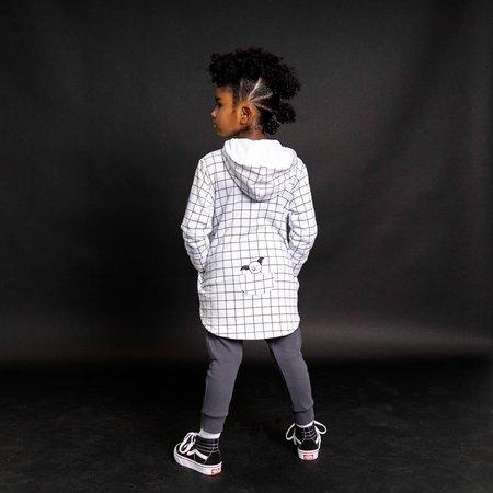 Kids Bash + Sass Hi-Lo Hoodie - Black/White Grid