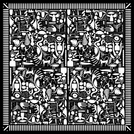Symbols Square Wool Scarf