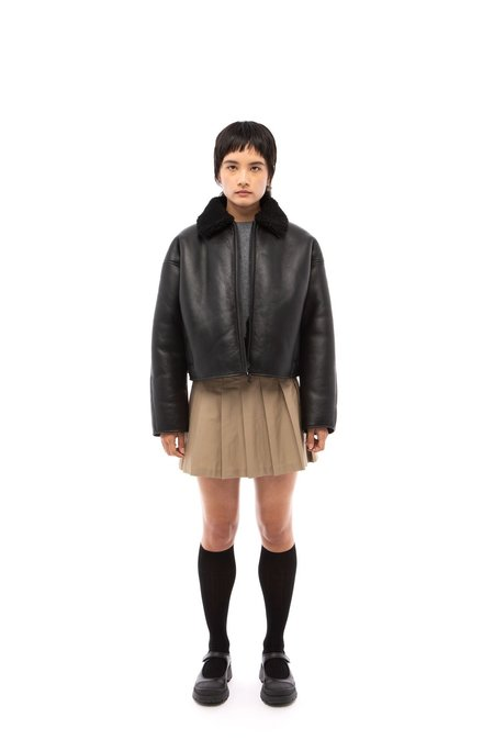 Nicole Saldana Clark Shearling Jacket - Black