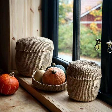 Mifuko Kiondo Extra Small Basket With Lid - Brown