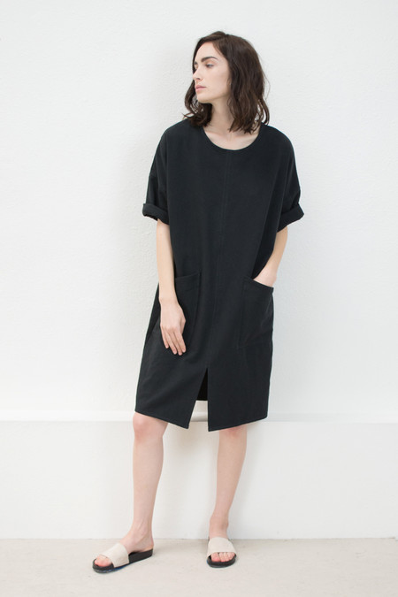 Micaela Greg Black Notch Dress