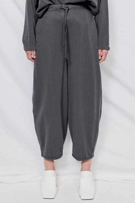 Black Crane Cotton Wide Pants - Asphalt