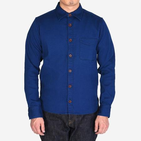 Momotaro Jeans Pique Ribbed Shirt - Indigo