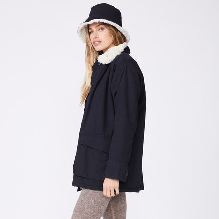 Monrow Utility Sherpa Lining Jacket - Black