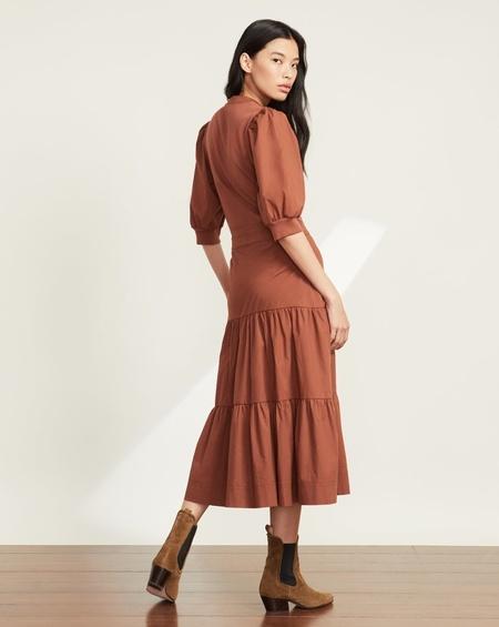 Veronica Beard Davenport Tiered Midi Dress - Nutmeg